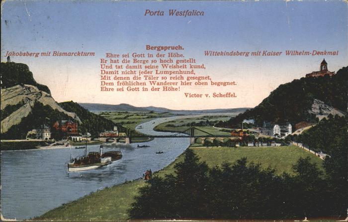 Porta Westfalica Panorama mit Jakobsberg Bismarckturm Wittekindsberg Kaiser Wilhelm Denkmal Kat. Porta Westfalica