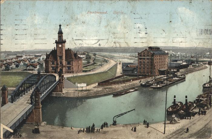 Dortmund Hafen Schiffe Bruecke Kat. Dortmund