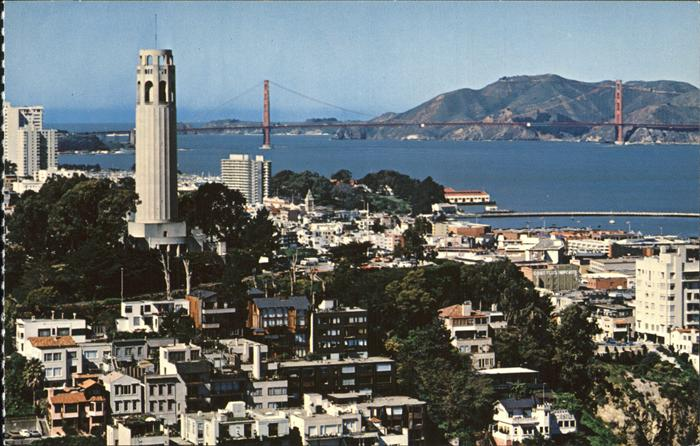 San Francisco California Coit Tower Golden Gate Bridge Kat. San Francisco
