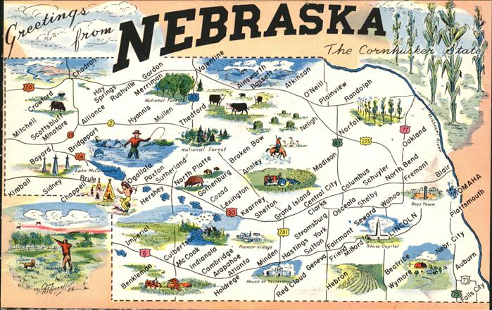 Lincoln Nebraska Map of the Cornhusker State Kat. Lincoln