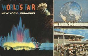 New York City World's Fair 1964 - 1965 Fountain of Planets Unisphere Night Scene Schaefer Center / New York /