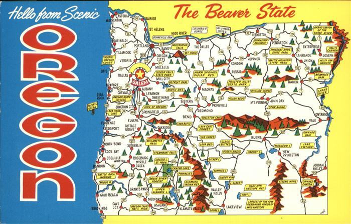 Salem Oregon Map of the Beaver State Kat. Salem