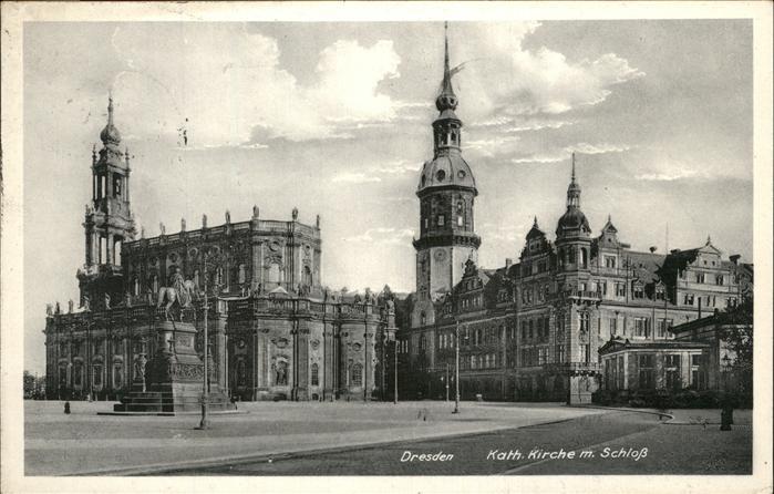 Dresden Katholische Kirche mit Schloss Kat. Dresden