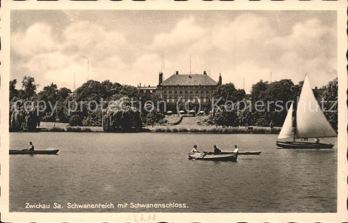 Zwickau Sachsen Schwanenteich mit Schwanenschloss Kat. Zwickau