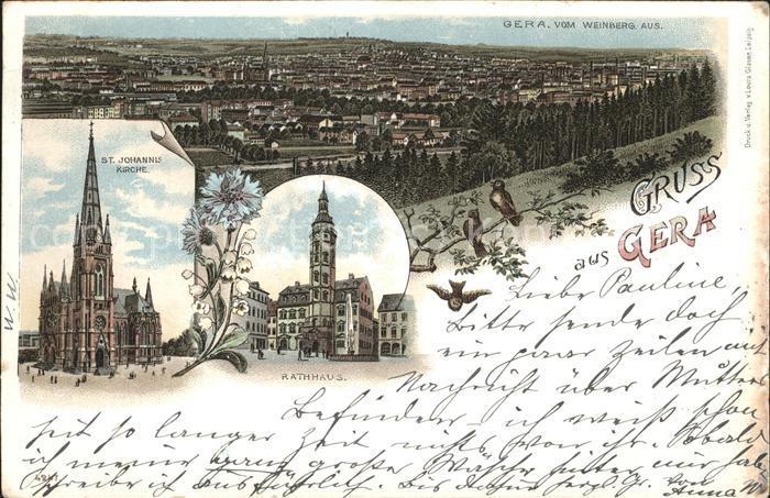 Gera Rathaus St. Johannis Kirche Weinberg Kat. Gera