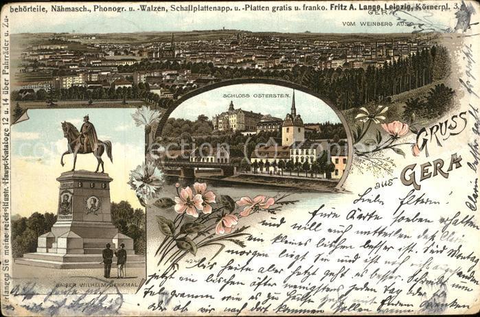 Gera Kaiser Wilhelm Denkmal Weinberg Schloss Oberstein Kat. Gera
