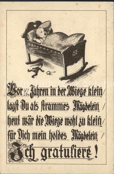 Dortmund Geburtstagskarte Baby in Wiege Kat. Dortmund Nr. dg22205
