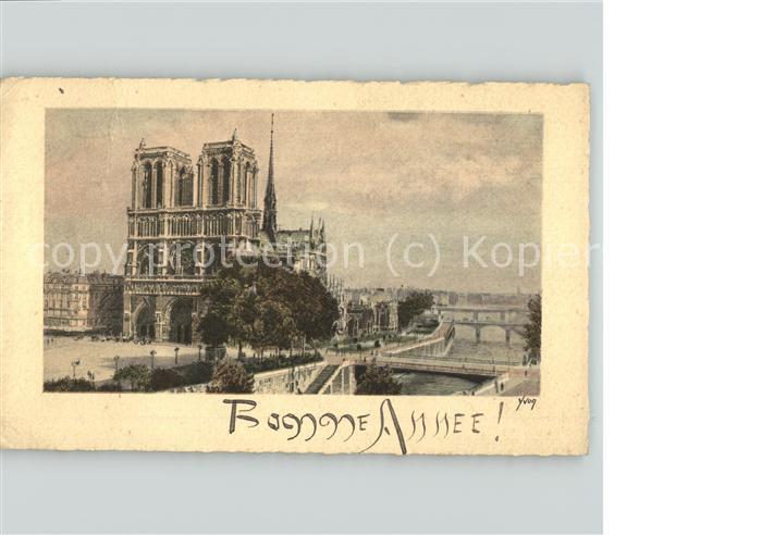 Paris Notre Dame Pont Bonne Annee Neujahrskarte Kat. Paris
