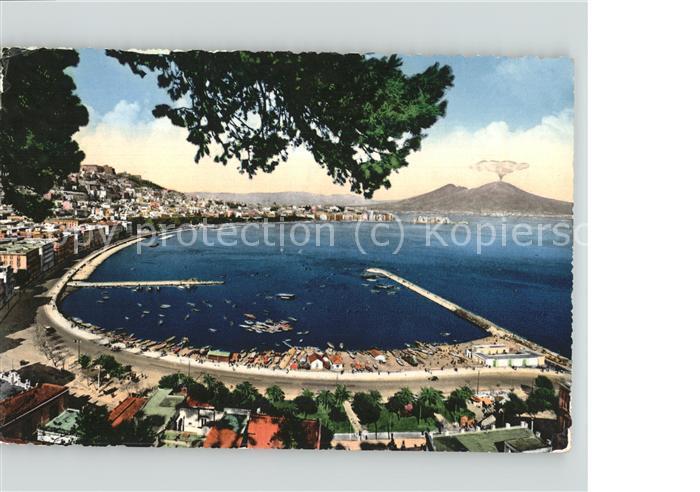 kk66769 Napoli Neapel Rada di Mergellina Vesuvio Hafen Vulkan Kat. Napoli