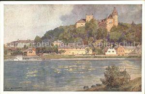 Ottensheim mit Dampfschiff auf der Donau Kat. Ottensheim
