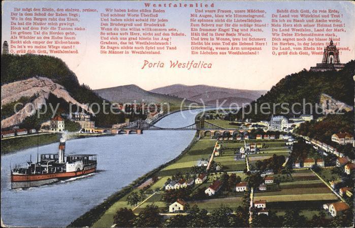 Porta Westfalica Wittekindsberg Haengebruecke Jakobsberg Weserlauf Wittekindsquelle Bismarcksaeule Kaiser Wilhelm Denkmal Kat. Porta Westfalica
