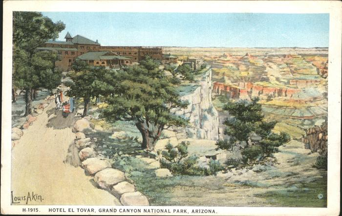 Grand Canyon Hotel El Tovar Painting by Louis Akin Kat. Grand Canyon