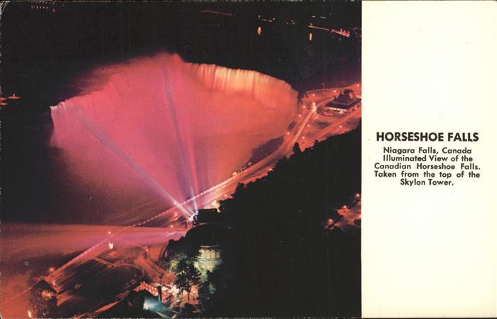 Niagara Falls Ontario Horseshoe Falls illuminated view from Skylon Tower Kat. Niagara Falls