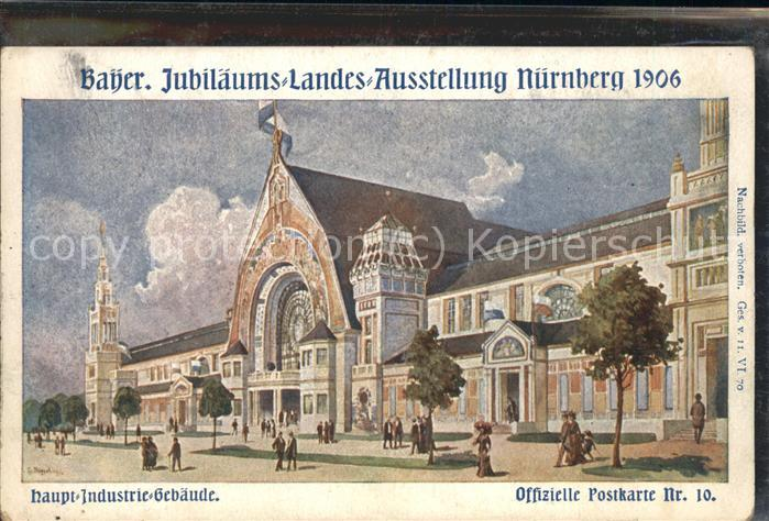 Ausstellung Bayr Landes Nuernberg 1906 Haupt Industrie Gebaeude Kat. Expositions