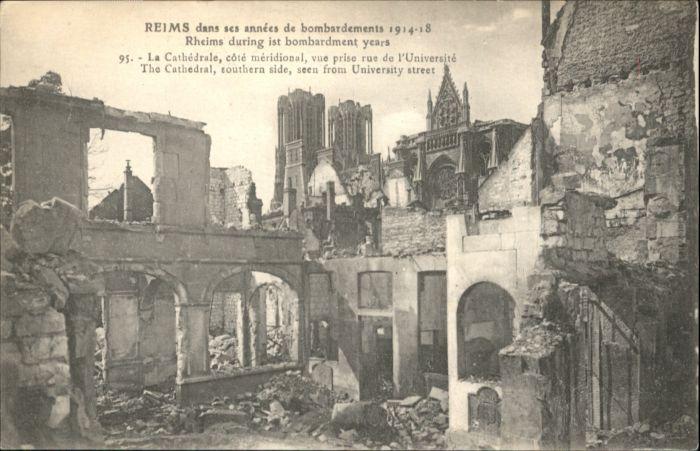 Reims la Cathedrale Zerstoerung *