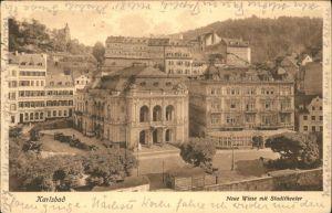 Karlsbad Eger Boehmen Neue Wiese mit Stadttheater Kat. Karlovy Vary