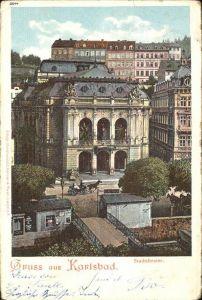 Karlsbad Eger Boehmen Stadttheater Pferdedroschke Kat. Karlovy Vary