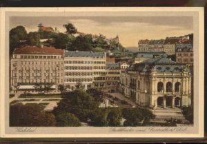 Karlsbad Eger Boehmen Stadttheater mit Centralhotel Loib Kat. Karlovy Vary