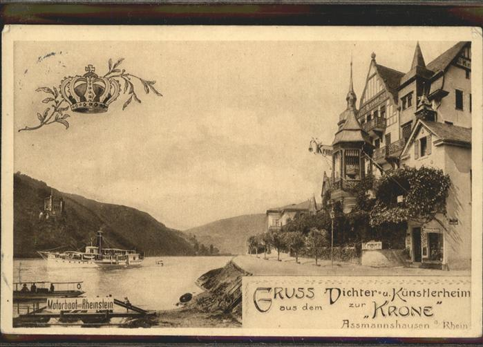 Assmannshausen Gasthof zur Krone mit Schiffsanlagestelle / Ruedesheim am Rhein /