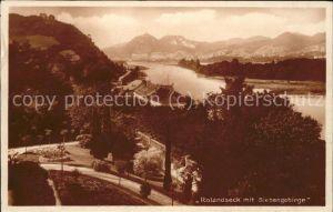 Rolandseck Blick ueber den Rhein mit Drachenfels Siebengebirge Kat. Remagen
