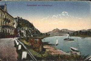 Rolandseck Uferstrasse am Rhein Dampfer Drachenfels Siebengebirge Kat. Remagen