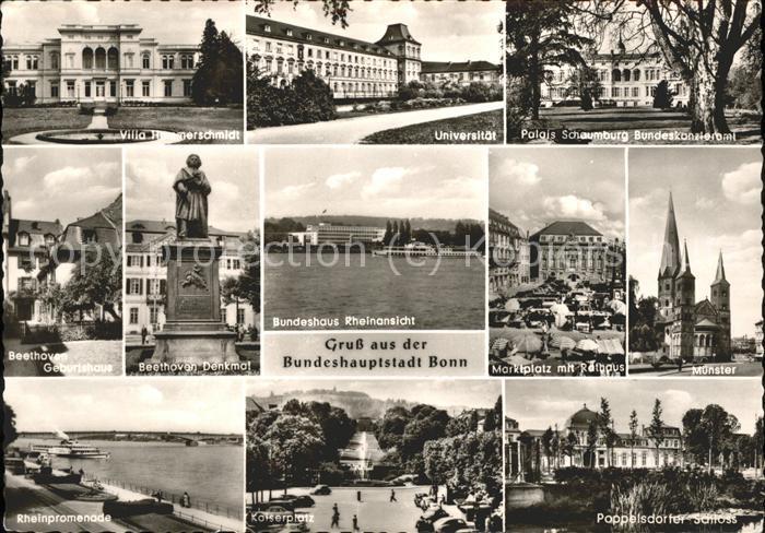 Bonn Rhein Villa Hammerschmidt Universitaet Palais Schaumburg Beethovendenkmal Muenster Rheinpromenade Kaiserplatz Poppelsdorfer Schloss / Bonn /Bonn Stadtkreis