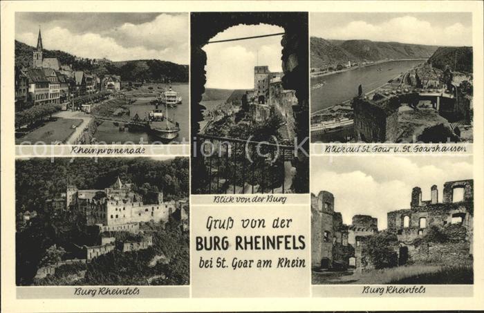 41508778 St Goar Rheinpromenade St Goarshausen Burg Rheinfels Sankt Goar St_Goar
