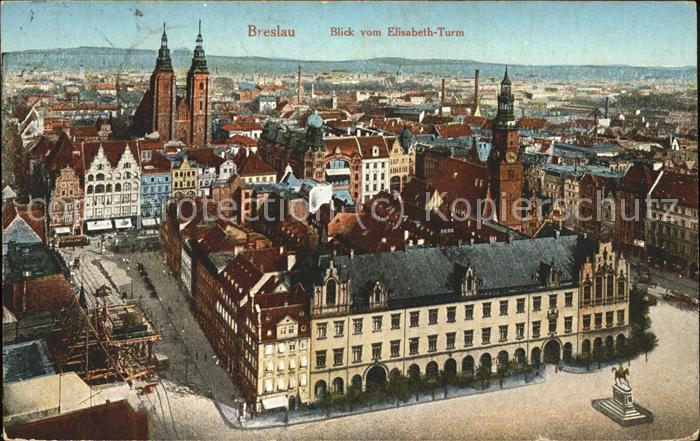Breslau Niederschlesien Blick vom Elisabeth Turm Feldpost Kat. Wroclaw