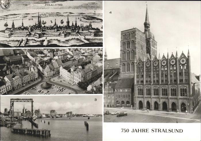Stralsund Mecklenburg Vorpommern Gesamtansicht Leninplatz Ruegendammbruecke Rathaus Kat. Stralsund