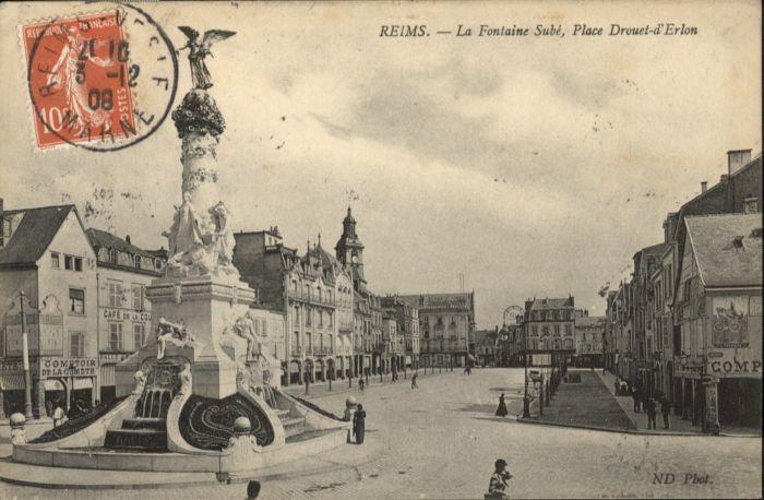 Reims Fontaine Sube Place Drouet-d'Erlon x