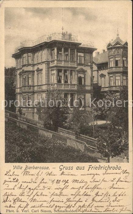 wx70449 Friedrichroda Villa Barbarossa  Kategorie. Friedrichroda Alte Ansichtskarten