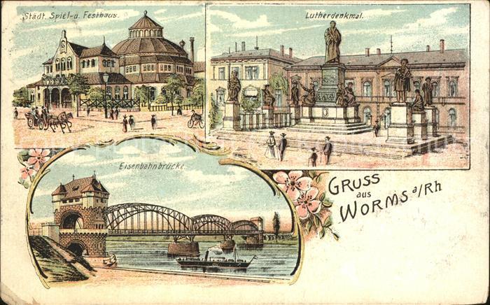 Worms Lutherdenkmal Festspielhaus Eisenbahnbruecke  Kat. Worms