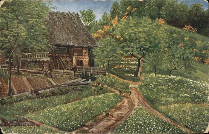 Kuenstlerkarte H. d Eu de Perthes Nr. 266 Schwarzwaldhaus Kat. Kuenstlerkarte