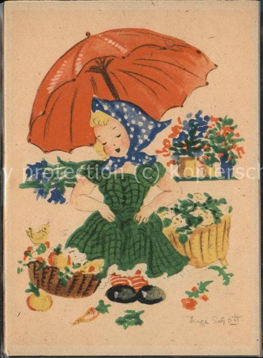 Kuenstlerkarte Inge Schott Regenschirm Blumen / Kuenstlerkarte /
