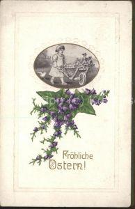 Ostern Easter Paques Schubkarre Kind Kueken Blumen / Greetings /