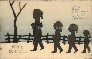 Scherenschnitt Schattenbildkarte Bonne Annee Porte Bonheur / Besonderheiten /