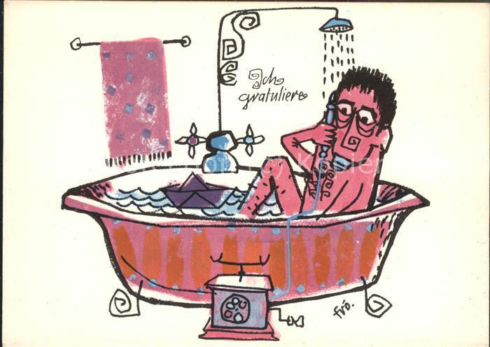 Kuenstlerkarte Ich Gratuliere Badewanne Telefon Comic