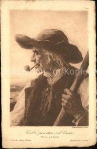 Kuenstlerkarte L. Crosio vecchio pescatore Pfeife Fischer  Kat. Kuenstlerkarte
