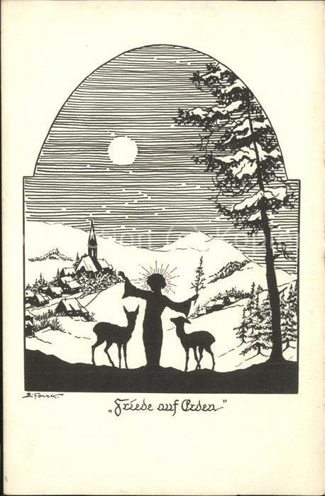 Scherenschnitt Schattenbildkarte Kuenstlerkarte Z. F. Friede auf Erden / Besonderheiten /