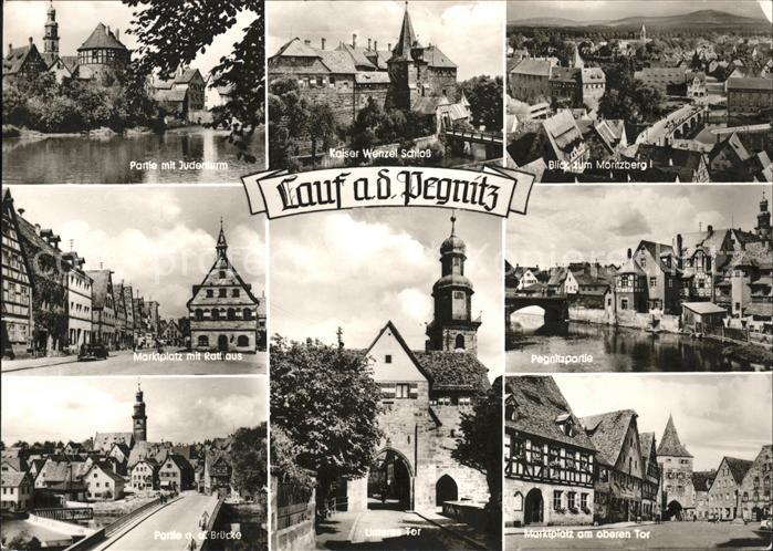 Lauf Pegnitz Judenturm Kaiser Wenzel Schloss Moritzberg Marktplatz Am oberen Tor Rathaus Pegnitz Bruecke Unteres Tor Kat. Lauf (Pegnitz)