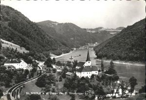 Sankt Nikola Donau Ortsansicht mit Kirche Eisenbahn Kat. Sankt Nikola an der Donau