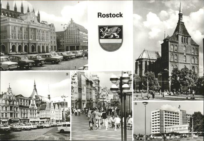 Rostock Mecklenburg Vorpommern Rathaus Kriche St. Marien Ernst Thaelmann Platz Kroepeliner Str. Interhotel Warnow Kat. Rostock