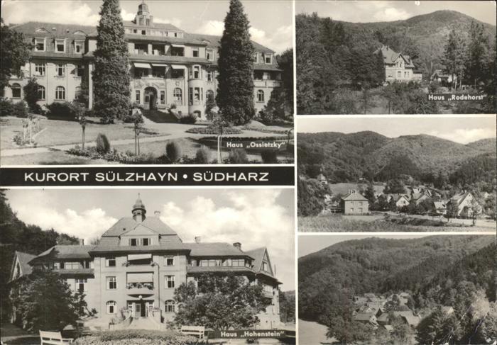 Suelzhayn Haus Ossietzky Rodehorst und Hohenstein Kurort Kat. Ellrich