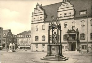 Wittenberg Lutherstadt Luther Denkmal Marktplatz Rathaus Marktbrunnen / Wittenberg /Wittenberg LKR