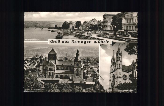Remagen Rheinpromenade Marienkirche Apollinariskirche Kat. Remagen