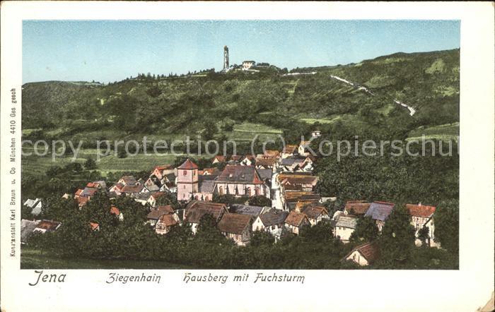 Jena Ziegenhain Hausberg mit Fuchsturm Kat. Jena
