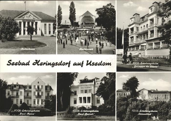 Heringsdorf Ostseebad Usedom FDGB Erholungsheim Ostseeblick Kurkonzert Paul Heine Kat. Heringsdorf