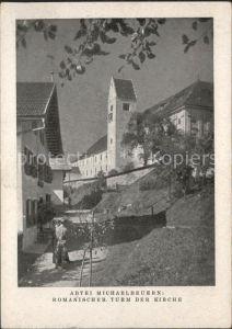 Dorfbeuern Abtei Michaelbeuern Romanischer Turm der Kirche Kat. Dorfbeuern
