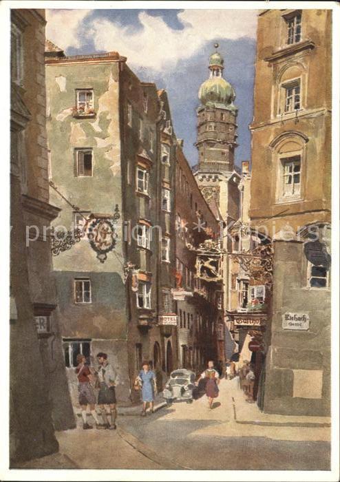 Innsbruck Seilergasse mit Stadtturm Kuenstlerkarte Edo v. Handel Mazzetti Kat. Innsbruck
