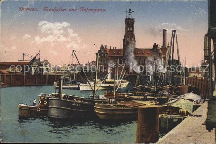 Bremen Freihafen und Hafenhaus Schiffe Kat. Bremen